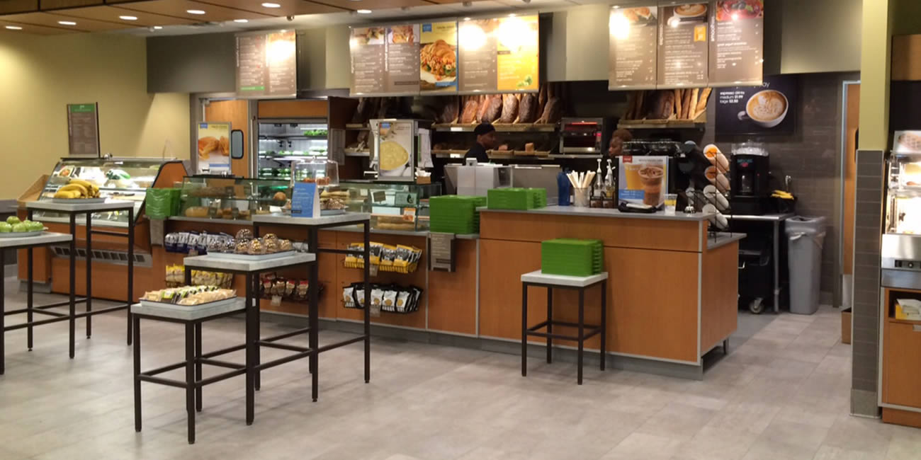Photograph of the inside of the ordering counter and line area of an Au Bon Pain location