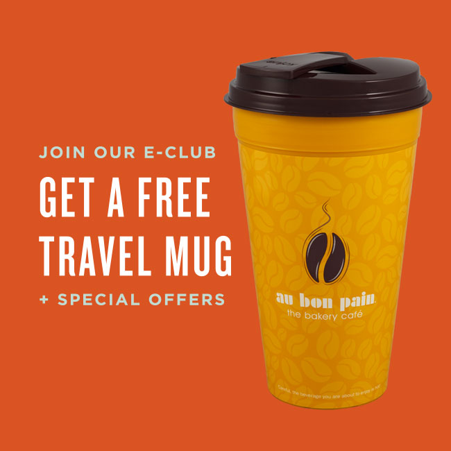 Join our e-club and get a free travel mug, plus special offers.